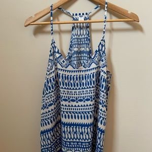 Cream and Blue Aztec Tank Top